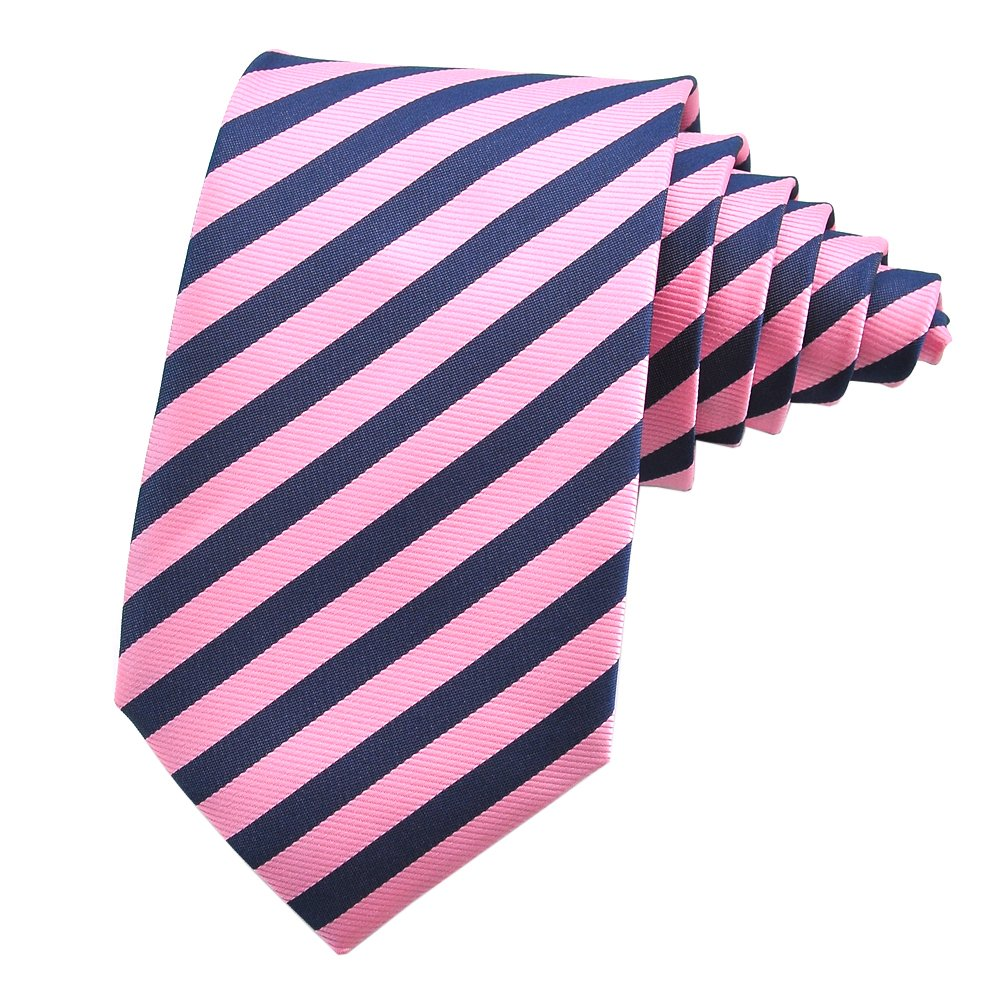 PenSee Mens Tie Silk Classical Stripes Neckties Various Colors