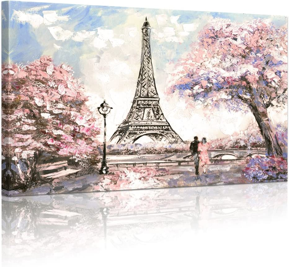 Visual Art Decor Sakura Blossoming Paris Street Eiffel Tower Canvas Prints Wall Art Gallery Wrapped Picture for Living Room