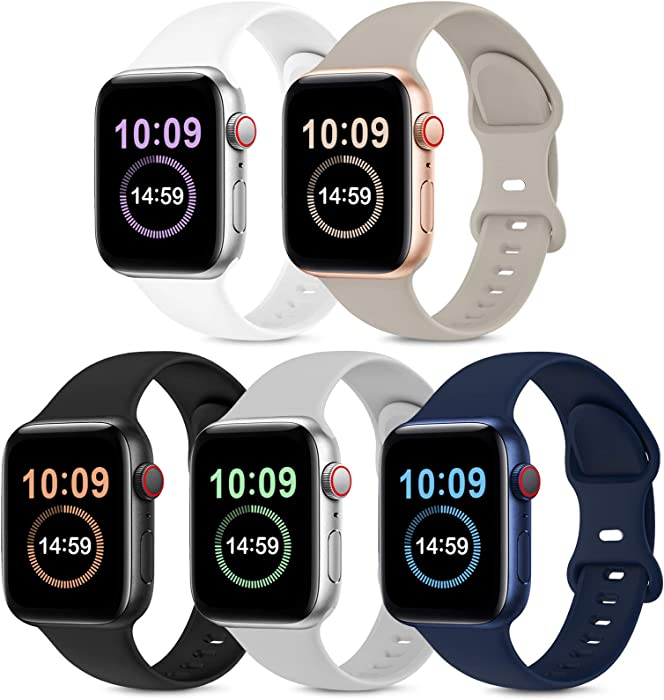 5 Pack Bands Compatible with Apple Watch Band 38mm 40mm, Soft Silicone Sport Replacement Strap Compatible with iWatch Series 6 5 4 3 2 1 SE Women Men Stone/Black/White/Grey/Navy Blue 38mm/40mm S/M