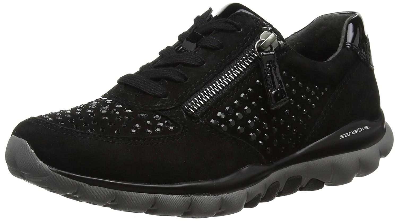 Gabor Shoes Rollingsoft, Zapatos de Cordones Derby para Mujer 38.5 EU|Negro (87 Schwarz Strass)