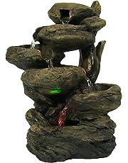 Sunnydaze 6-Tier escalonada Rock Falls Mesa Fuente con Luces LED de Colores, 13,5 Pulgadas