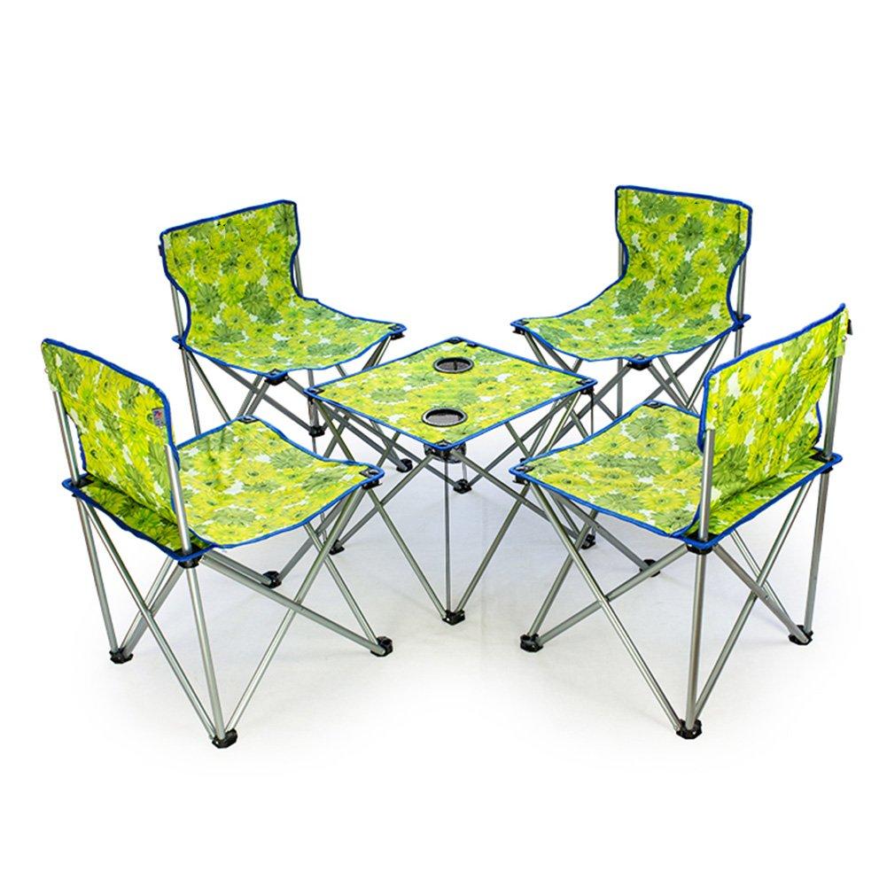 QIANGDA 屋外/アウトドア 折りたたみ テーブル椅子 5セット オックスフォード布 鋼管 折りたたみ可能 持ち運びが簡単 - 折りたたみ:73 x 20 x 24 cm、 3色 オプション ( 色 : 3# ) B07CN1SV6N 3# 3#