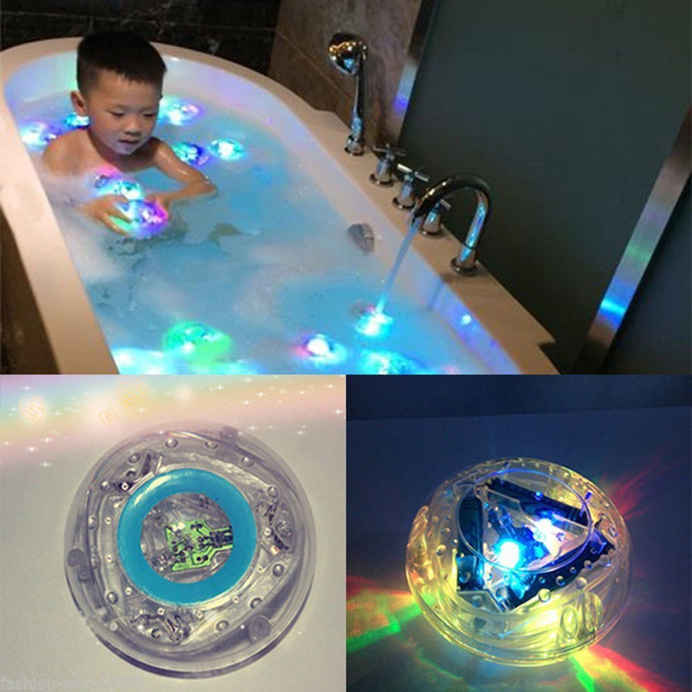 Buweiser party in the tub Children's bathtub lights floating waterproof colorful LED lights toys (Blue)