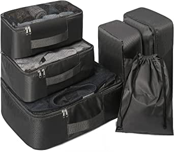 6 Set Packing Cubes,6 Various Sizes Travel Luggage Packing Organizers,Durable Compression Luggage Organizers Set for Travel & Storage.(Black)