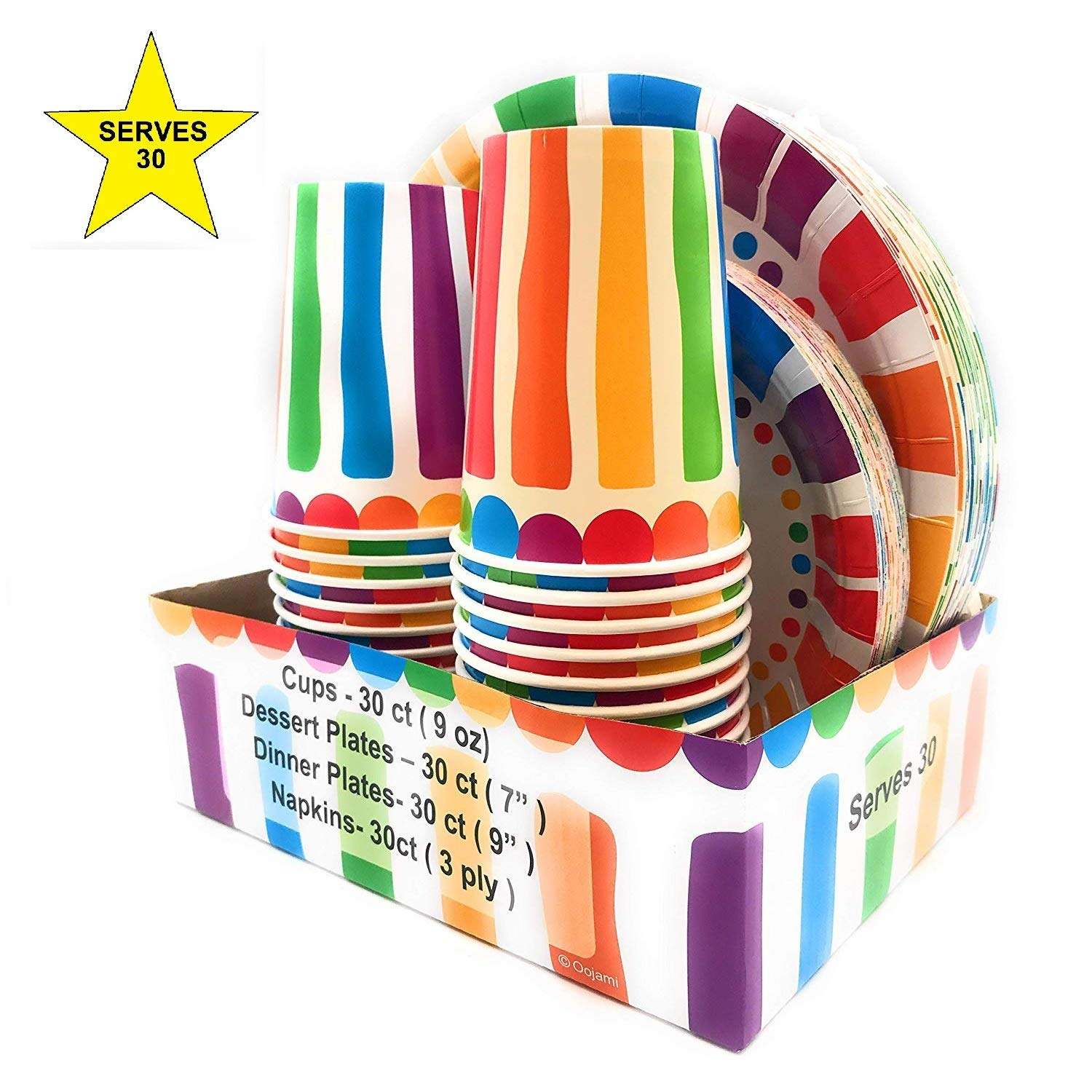 Serves 30 Rainbow Party Pack | 30 cups 9 oz | 30 Dessert Plates 7'' | 30 Dinner Plates 9'' | 30 Napkins | Serves 30