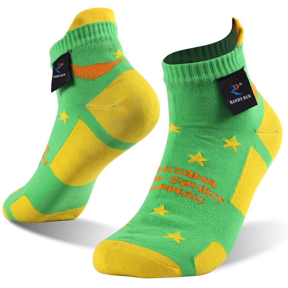 Ankle Athletic Socks, RANDY SUN 100% Waterproof Socks Blister Resist Athletic Cycling Running Hiking Tab Socks, 1 Pair-Green&Yellow XS by RANDY SUN
