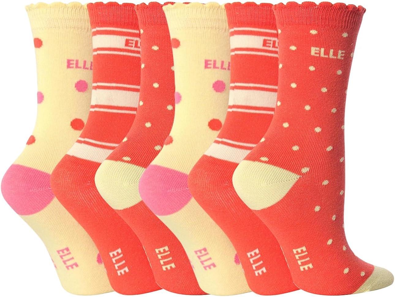 6 Pairs Girls Designer Elle Ankle Socks Orange YE08 Size 9-12 Uk 4-6 Years