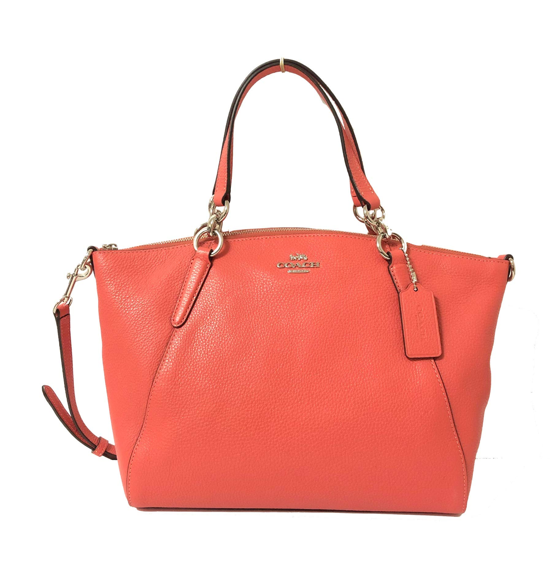 Coach Leather Small Kelsey Cross Body Bag (Small, SV/Coral)
