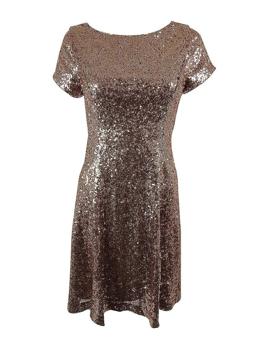 6, Copper SLNY Womens Embellished Sequined Dress