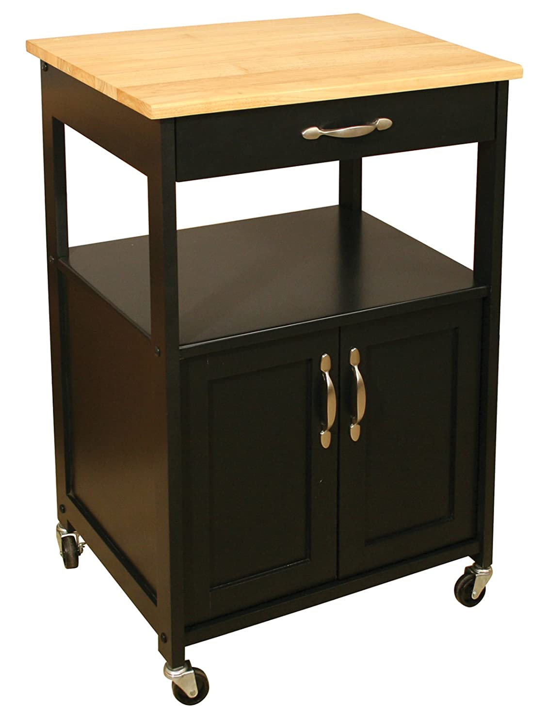 Catskill Craftsmen Kitchen Trolley, Black Base/Natural Top