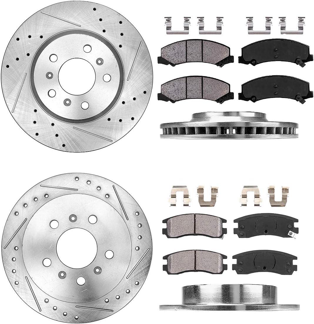 Callahan CDS02134 FRONT 4 REAR D//S 5 Lug Clips Ceramic Pads Rotors fit Chevy Impala Monte Carlo Ls Lt Ltz SS