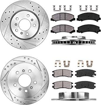 Front+Rear Brake Rotors Metallic Pads For Chevy Impala Monte Carlo LS LT LTZ SS