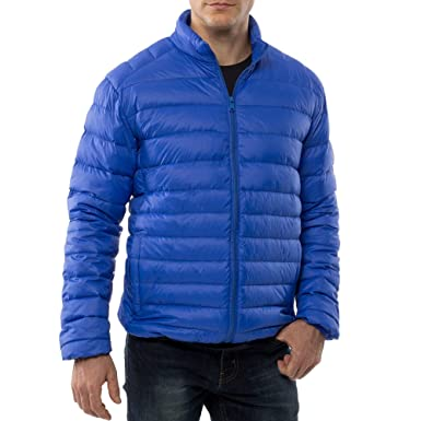 alpine swiss Niko Mens Down Jacket Puffer Coat Packable Warm Insulation & Light BLU SML
