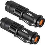 LED Flashlight, AMASKY 2X Cree Mini LED Flashlights Torch,7W Adjustable Focus,Super Bright 500 Lumen,Skid-proof & Splashproof Design (2pcs)