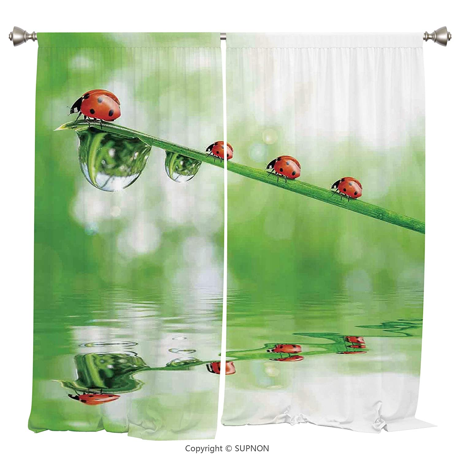 Rod Pocket Curtain Panel Thermal Insulated Blackout Curtains for Bedroom Living Room Dorm Kitchen Cafe/2 Curtain Panels/108 x 72 Inch/Ladybugs,Ladybugs on A Stem over the Water Striped Animals Fresh E