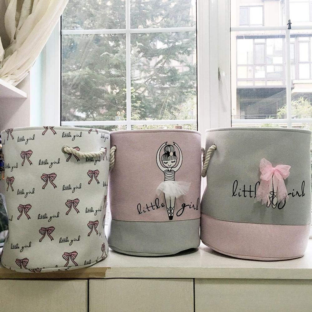 MOGOI Cesta de Almacenamiento de Juguetes, Cesta organizadora Plegable de algodón Rosa con asa para niñas, cestas de Regalo, Dormitorio, Ropa, ...