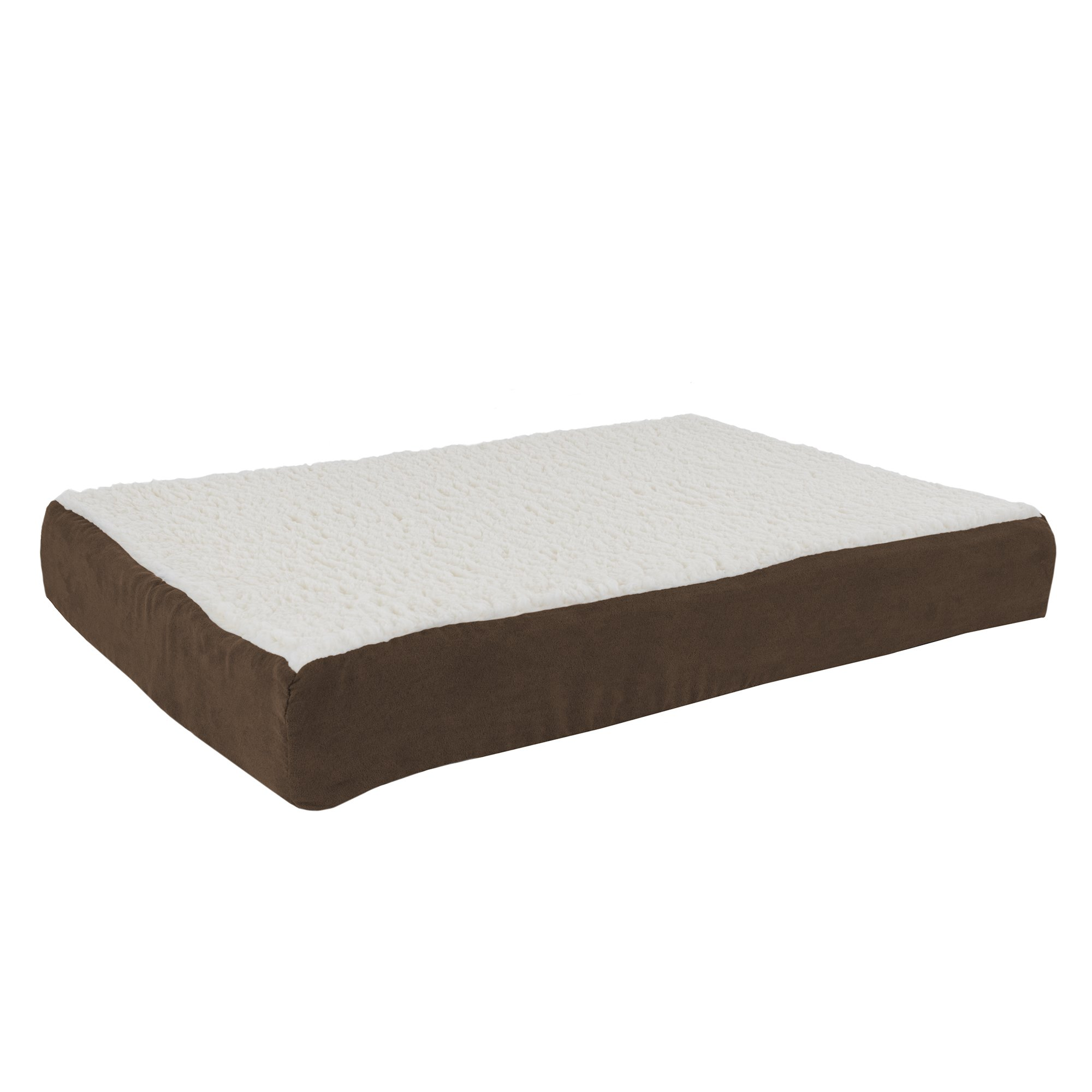 PETMAKER Orthopedic Sherpa Top Pet Bed with Memory Foam and Removable Cover 30x20.5x4 Brown by PETMAKER
