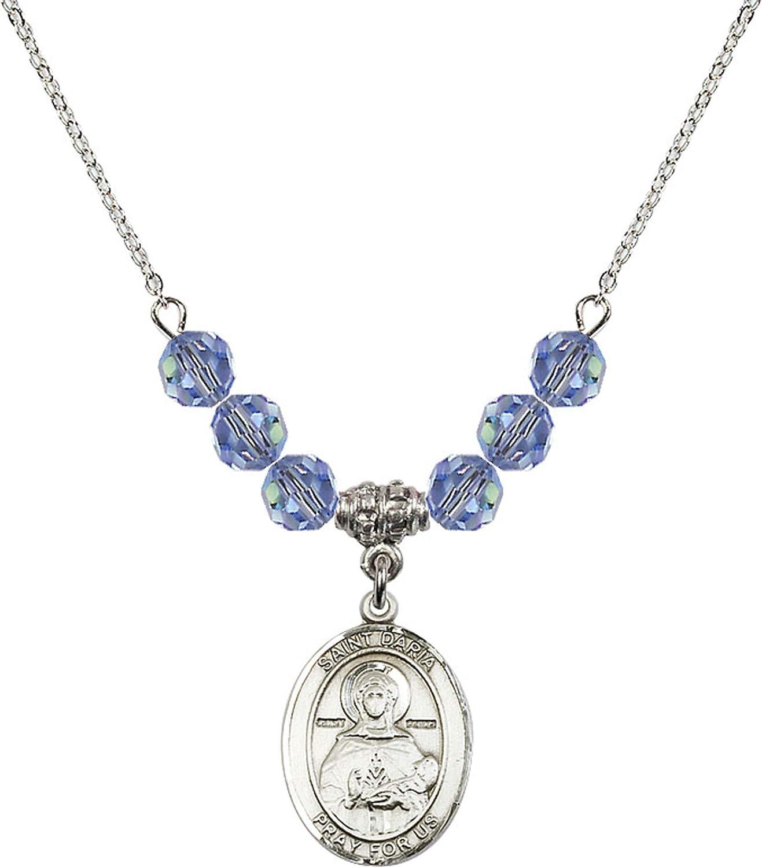 Bonyak Jewelry 18 Inch Rhodium Plated Necklace w// 6mm Light Blue September Birth Month Stone Beads and Saint Daria Charm