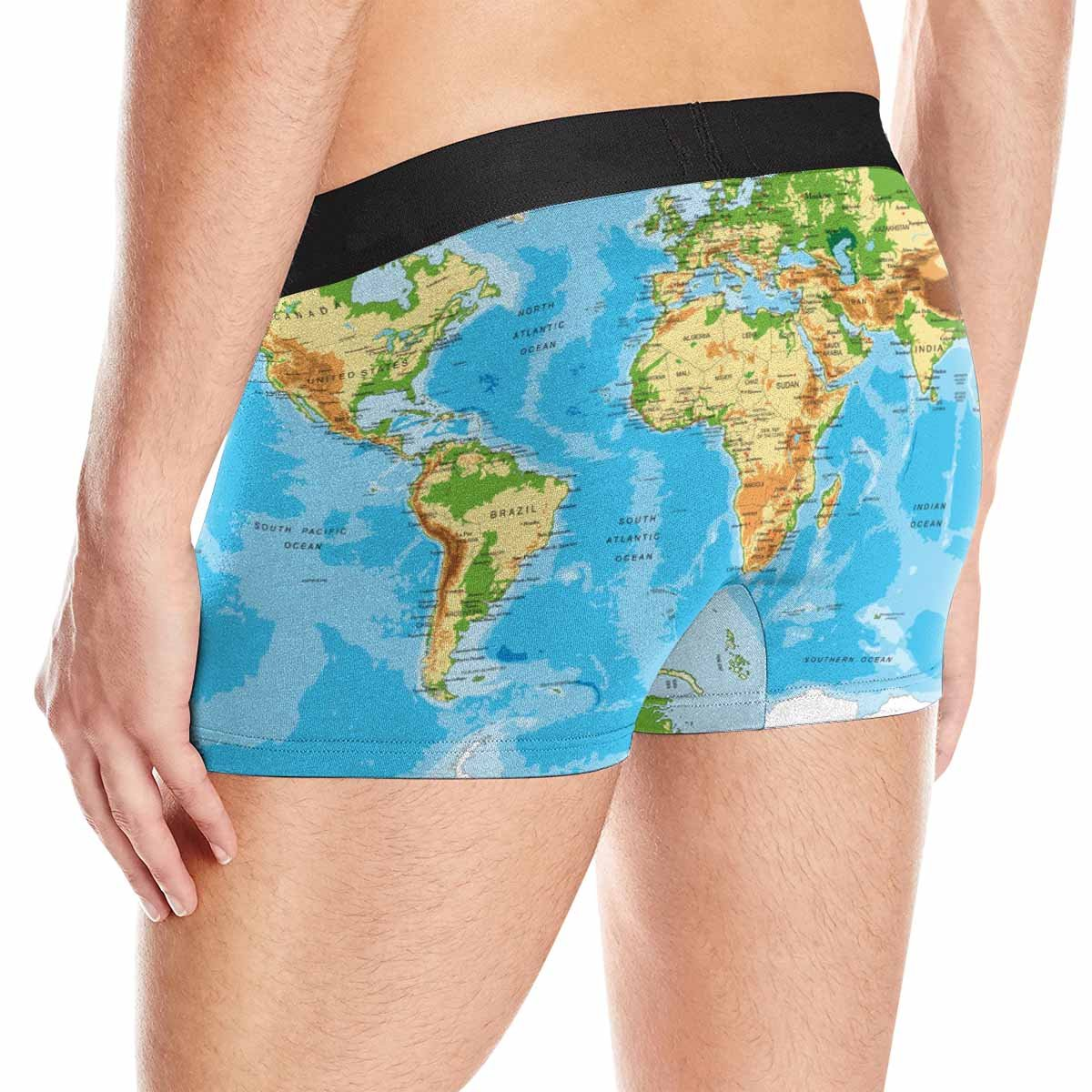 XS-3XL INTERESTPRINT Custom Mens Boxer Briefs Physical Map of The World