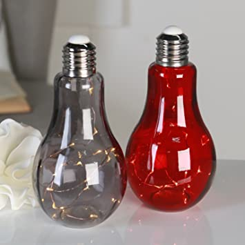 Lampe Decorative Ampoule En Verre Fume Guirlande Avec 19led Avec