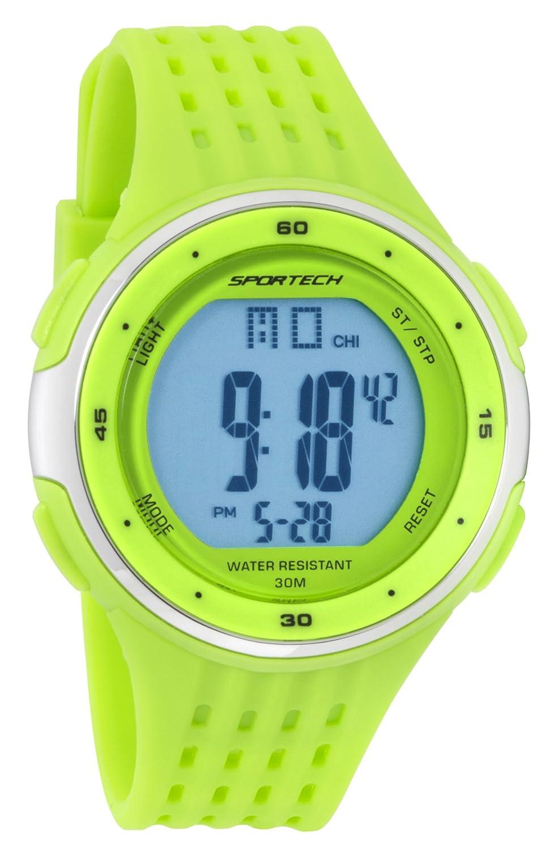 Reloj Deportivo Deportivo Digital para Hombre y niño, Color Lima y Plateado, Resistente al Agua SP12306