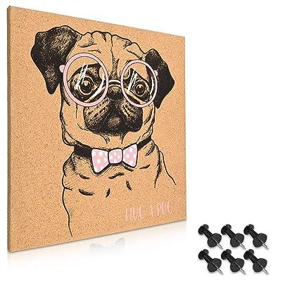 Navaris tablero de corcho con diseño de perro - Pizarra de corcho de 40x40CM - Tablón