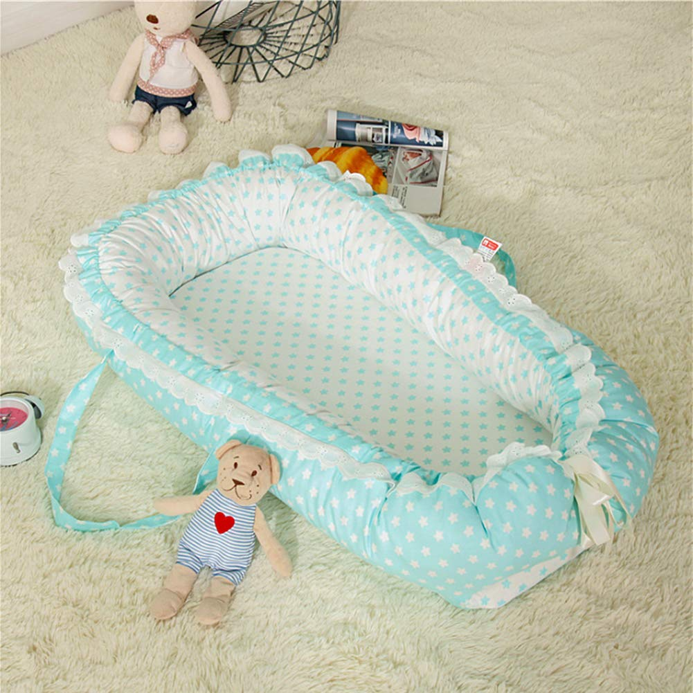 Breathable Hypoallergenic-Perfect for Co-Sleeping Infant Lounger Ukeler Cotton Portable Travel Baby//Infant Bassinet Baby Nest for Baby Lounger