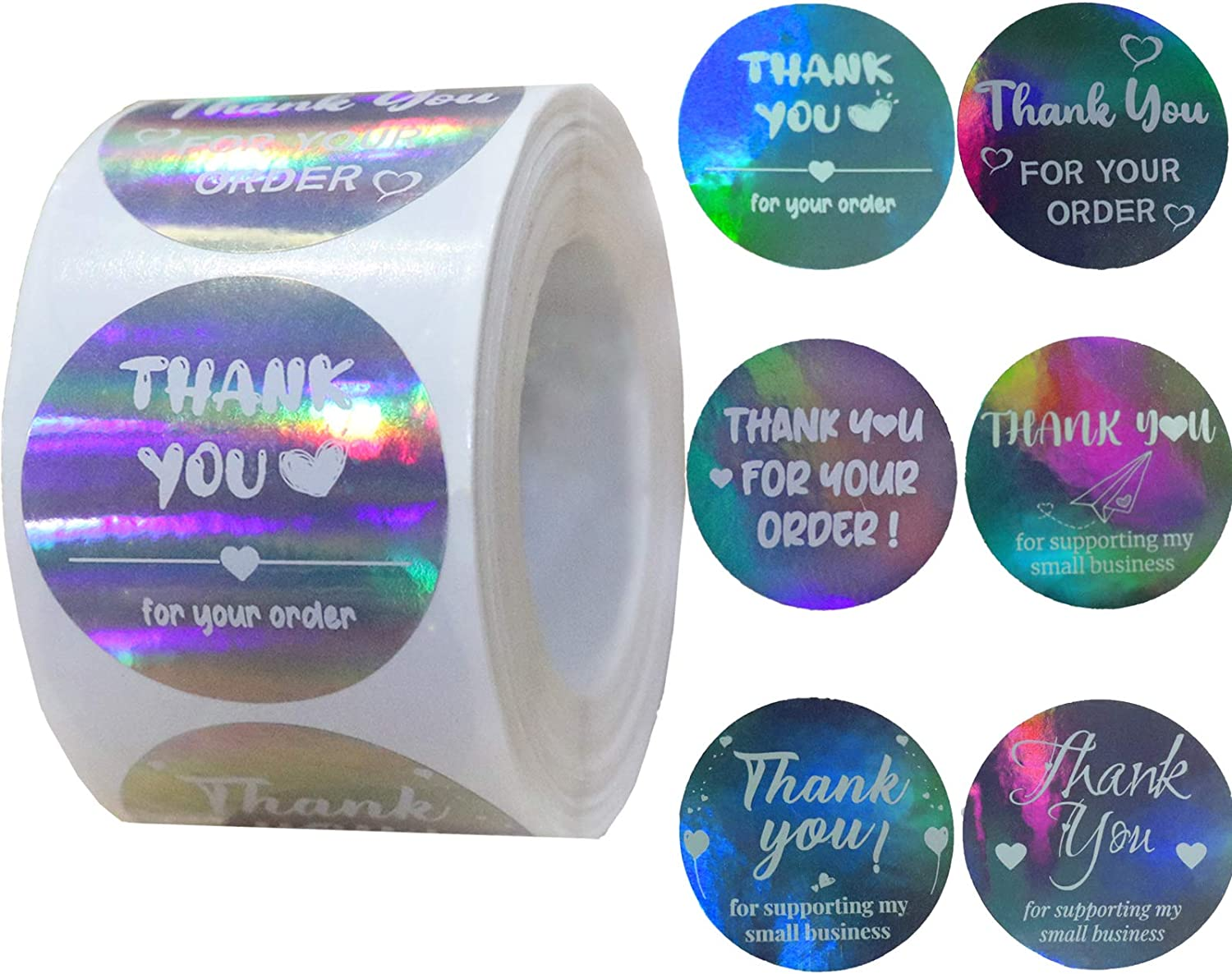Thank You Stickers Small Business Commercial Stickers 1.5 Inch Thank You Tags 500 Pcs Silver Flash Adhesive Business Labels for Envelope, Gift Bags, Boxes, Decoration - Lnichot (1.5 Inch White)