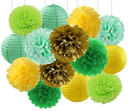 Amazon Com Baby Shower Decorations Spring Green Mint Yellow Gold