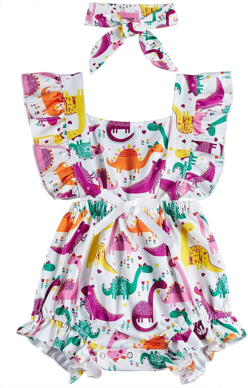 UNICOMIDEA Newborn Toddler Baby Girls Ruffle Sleeveless Romper Floral Bodysuit Outfit Set Match Headband 0-24 Month