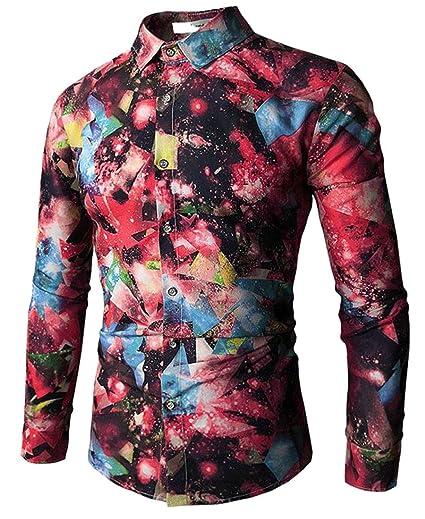 e6825cbd3bcd ARTFFEL Men s Long Sleeve Floral 3D Print Slim Classic Blouse Shirt ...