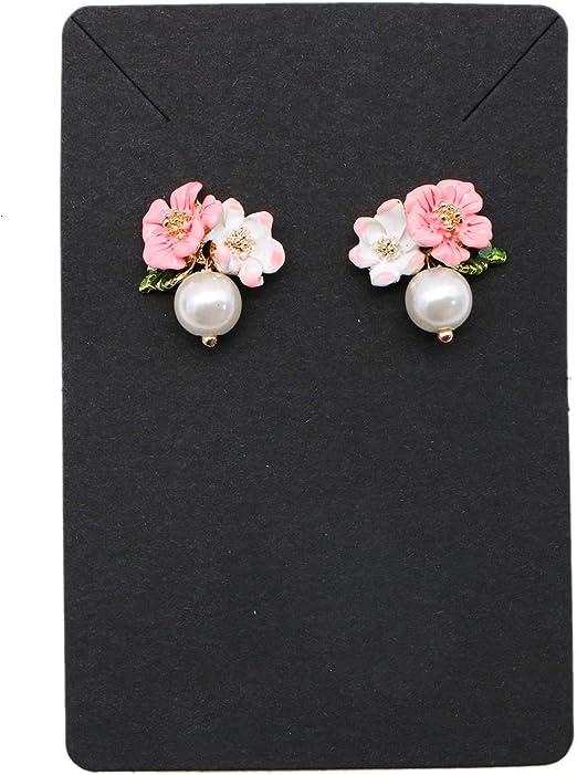 Jeteho 100pcs Earring Display Cards Black Jewelry Earring And Necklace Display Cards For Diy Jewelry