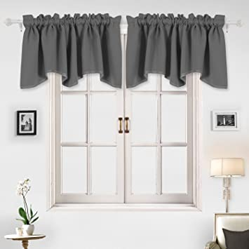 Deconovo Home Decorations Blackout Curtain Panels Valance Scalloped Curtains Short For Windows 52 X