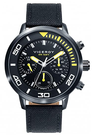 Viceroy Reloj Multiesfera para Hombre de Cuarzo con Correa en Tela 471027-57: Amazon.es: Relojes