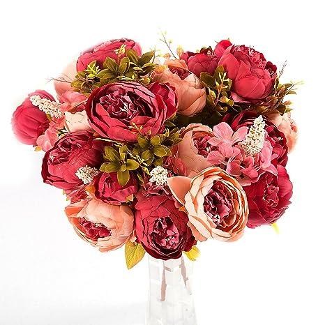 Flor Artificiales Peonías,YOKIRIN Plantas Seda Peonías,1 Ramo de 6 * Peonías+ 2