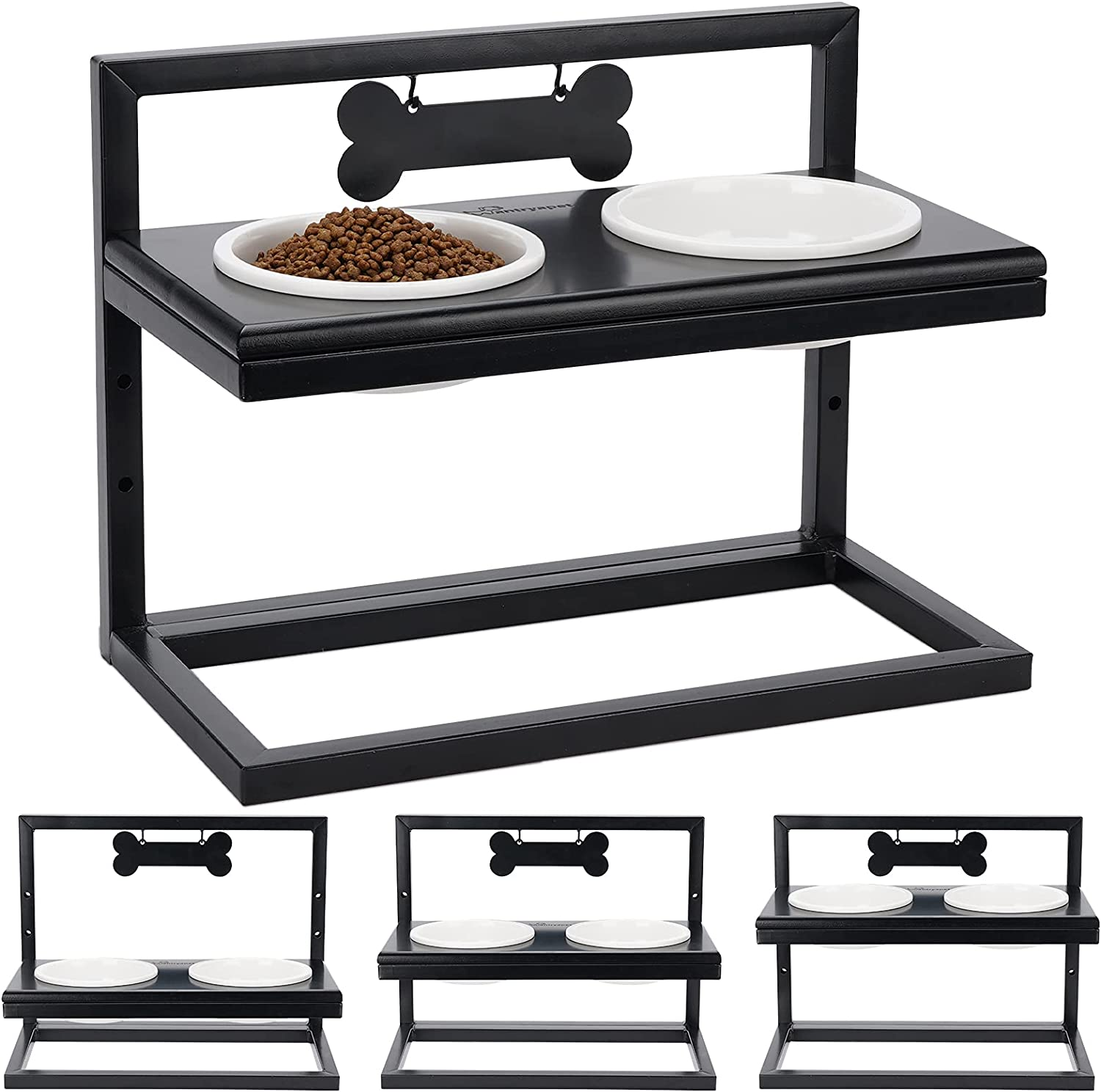 WANTRYAPET Elevated Dog Feeder Bowls Adjustable 3 Heights, Premium Break-Resistant Food Water Bowls, Raise Pet Feeder Stand with Name Tags and Marker, Perfect for Puppies, Cat, Dogs, Patented
