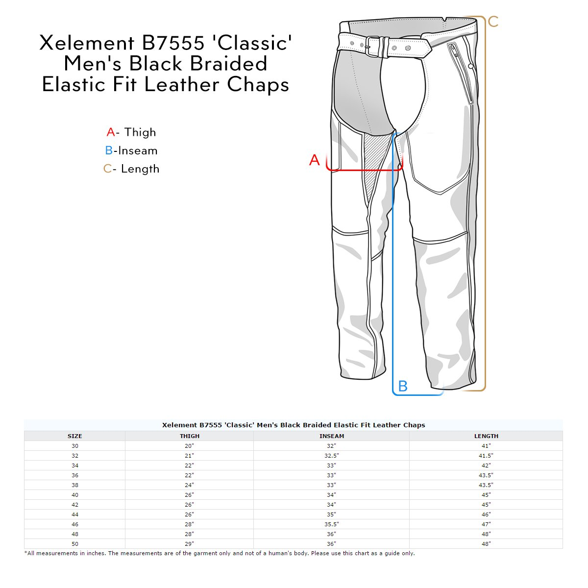 Xelement B7555 Classic Mens Black Braided Elastic Fit Leather Chaps - 40
