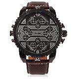 Rockyu ブランド 人気 腕時計 ウォッチ メンズ レディース 世界 フォーマル サファイアガラス ブラック レザー 革 バンド [並行輸入品]