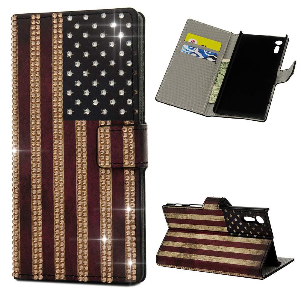 Mlorras H/ülle f/ür Sony Xperia XZ Gemalt Strass Leder Handyh/ülle Klappbares Brieftasche Schutzh/ülle Wallet Case Cover mit Integrierten Kartensteckpl/ätzen Amerikanische Flagge