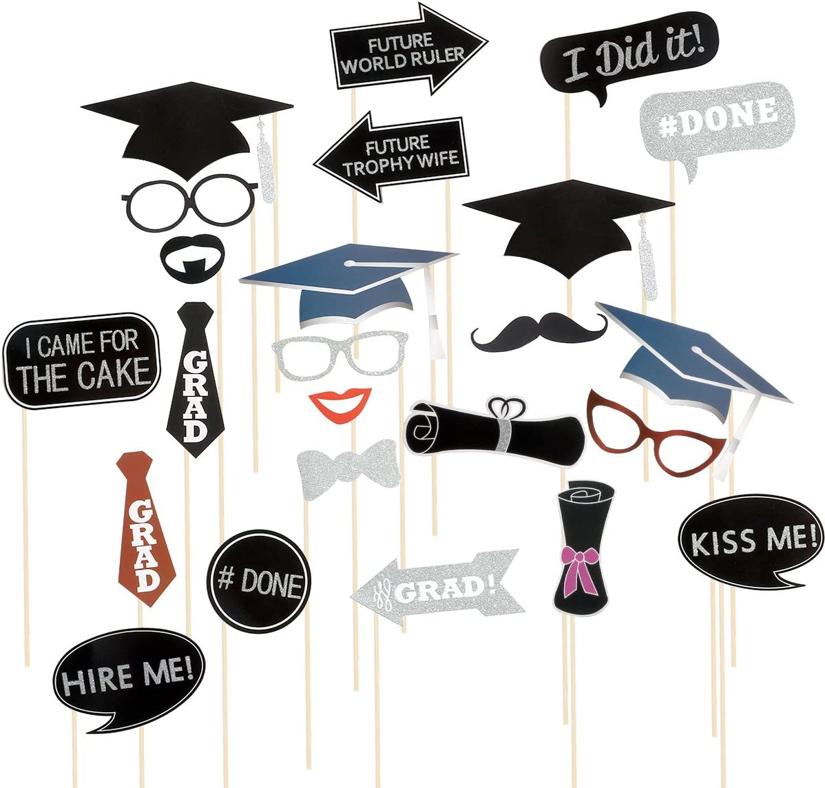 Graduation Photo Booth Props Tinksky 24 Kit Party Favor for Graduation Party with Mustache Hats Bowler Bowties on Sticks Glasses Lips