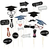 Graduation Photo Booth Props Tinksky 24 Kit Party Favor for Graduation Party with Mustache, Hats, Glasses, Lips, Bowler, Bowties on Sticks