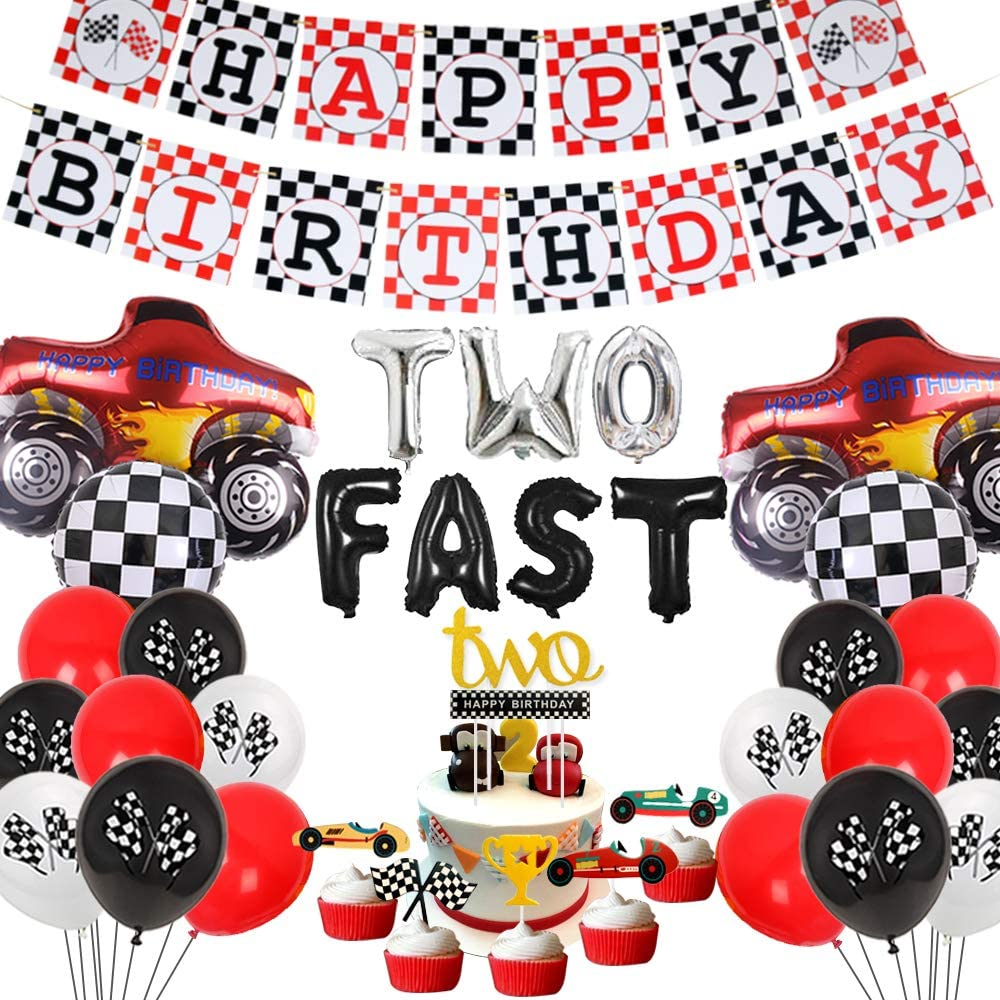 Amazon Com Cars 2nd Birthday Party Decorations Two Fast Racing Car Birthday Party Supplies Monster Truck Balloons Happy Birthday Banner Cake Topper Toys Games