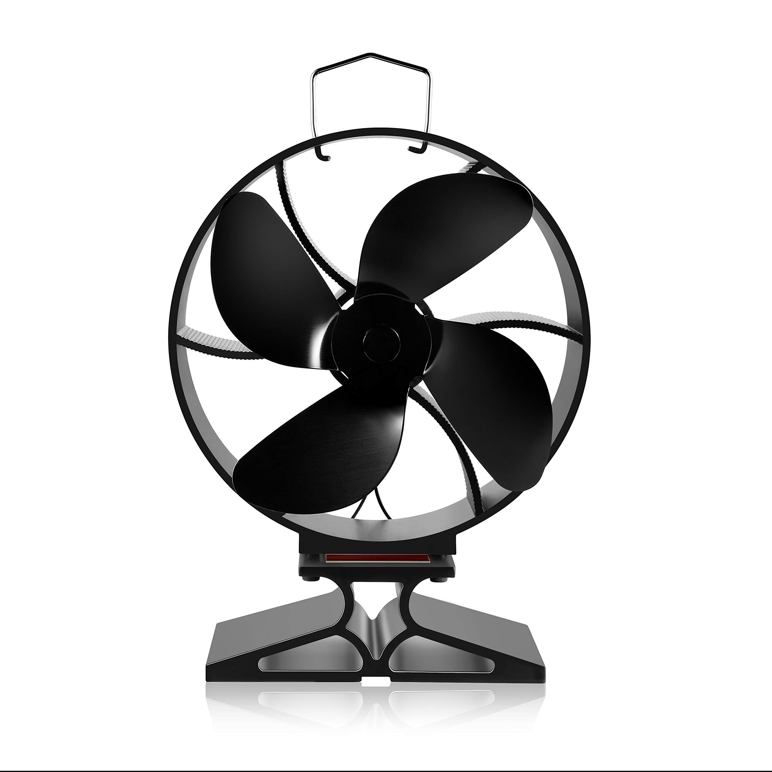Morinoli Upgraded 4 Blade Fireplace Fan Heat Powered Stove Fan for Wood/Log Burner/Fireplace ,Eco Friendly and Efficient Heat Distribution Fan,Black,Round by Morinoli