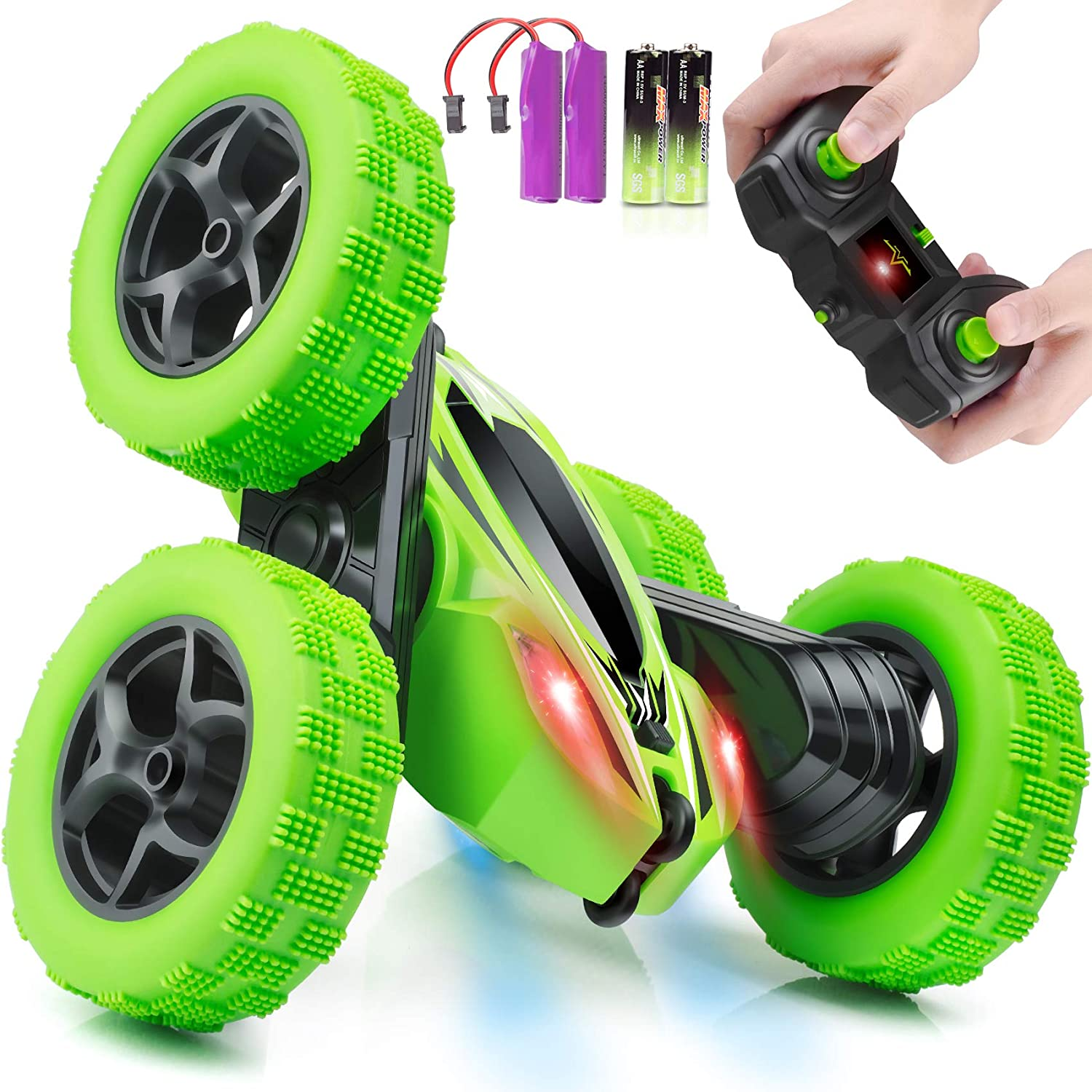 Remote Control Car, ORRENTE RC Cars Stunt Car Toy, 4WD 2.4Ghz Double Sided 360° Rotating RC Car with Headlights, Kids Xmas Toy Cars for Boys/Girls: Toys & Games