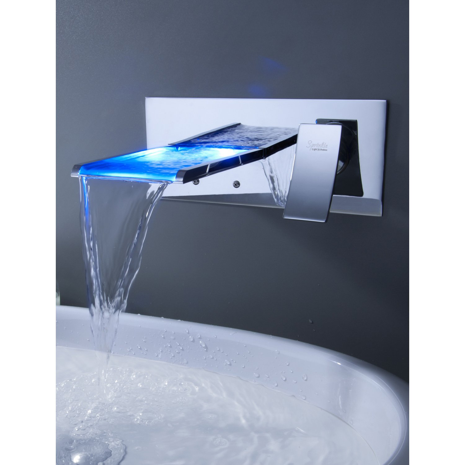 Sprinkle Wall Mount Color Changing Led Waterfall Bathroom Sink ...