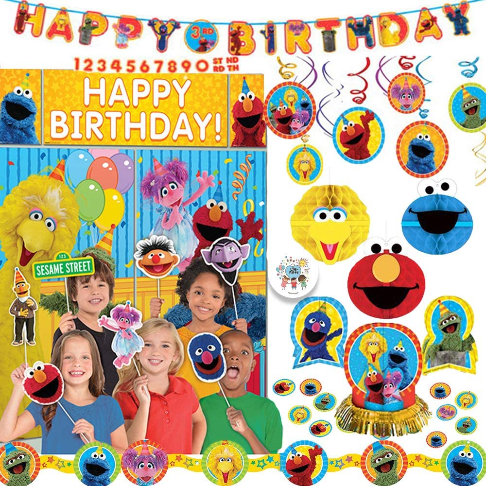 Sesame Street Birthday Party Decoration Pack With Add An Age Birthday Banner, Scene Setter Wall Deco Kit With Props, Hanging Swirls, Honeycomb Decorations, Table Deco Kit, Garland, and Exclusive Pin