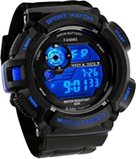 2a3e102231e4 Fanmis Mens Military Multifunction Digital LED Watch Electronic Waterproof  Alarm Quartz Sports Watch Blue