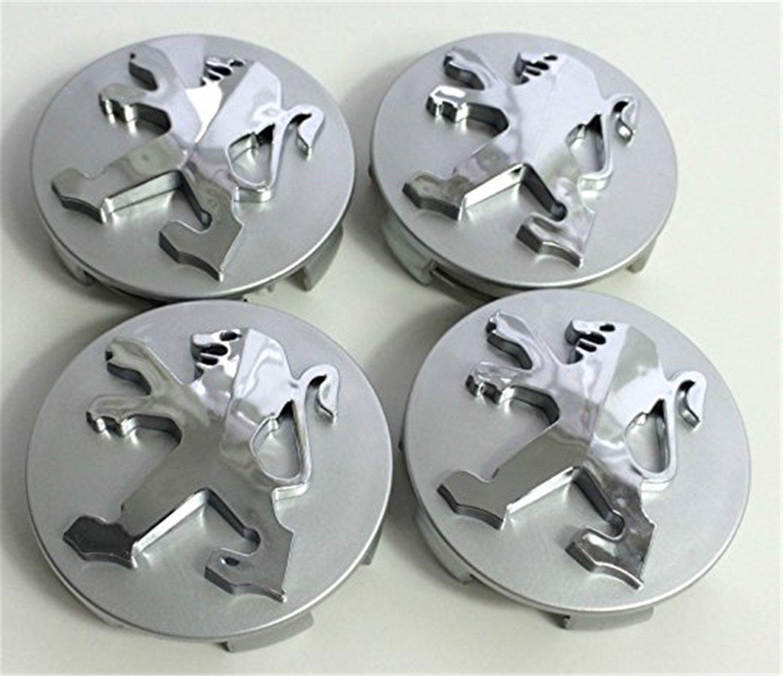 X4/haute qualit/é Peugeot 60/mm alliage Badge gris chrome logo embl/ème milieu Hub Capuchons cache-moyeux Jante Couvercle Lot de 4/enjoliveurs insigne Peugeot 106/107/206/207/306/307/506/507/&nbs