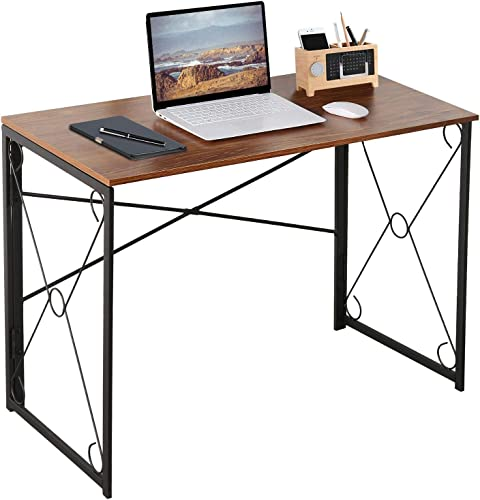 VECELO 39″ Writing Computer Folding Desk Sturdy Steel Laptop Table