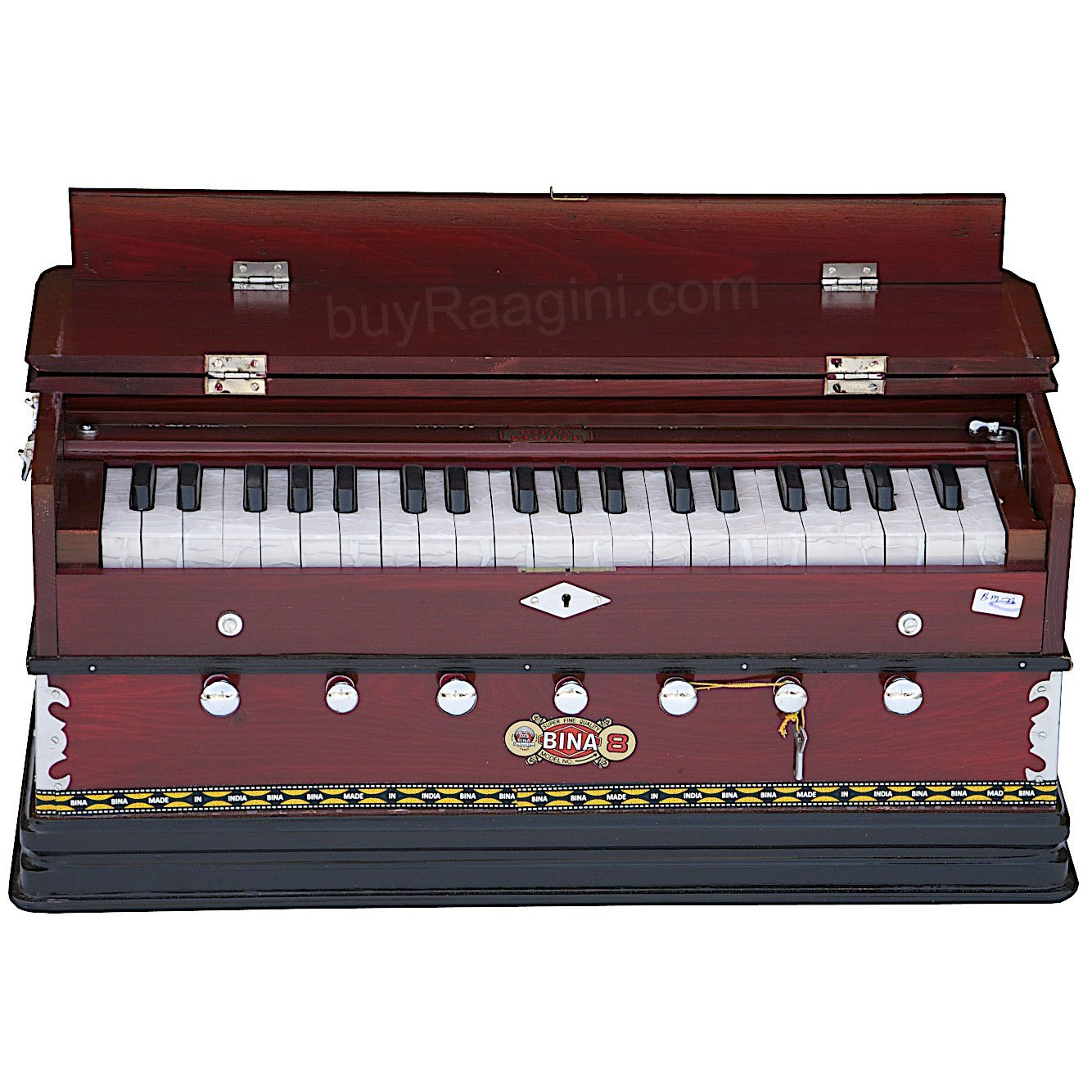 BINA No. 8 Harmonium, In USA, 7 Stops, Rosewood Color, 3 1/4 Octaves, Coupler, Tuned to A440, Double Reed, Book, Bag, Musical Instrument Indian (PDI-AGD) by Bina